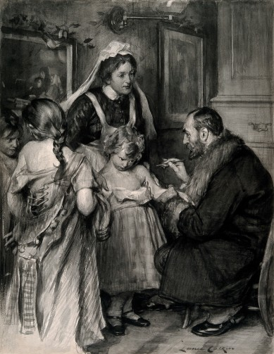 V0016682 A doctor vaccinating a small girl, other girls with loosened