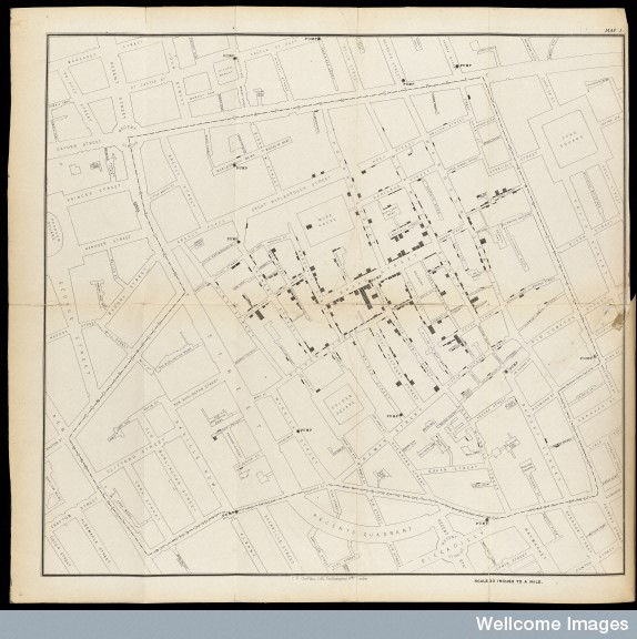 L0063431 Map showing deaths from Cholera in Broad Street...