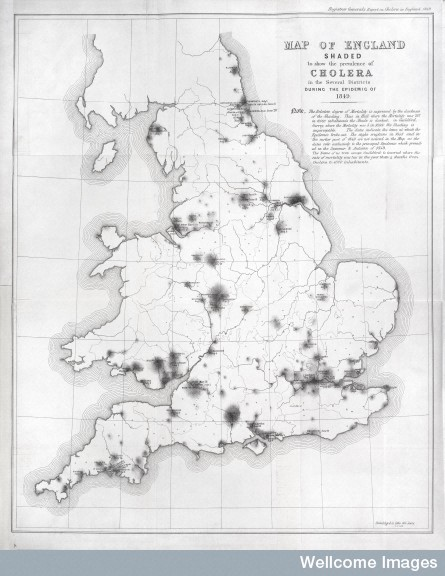 L0039174 Map of England showing prevalence of cholera, 1849