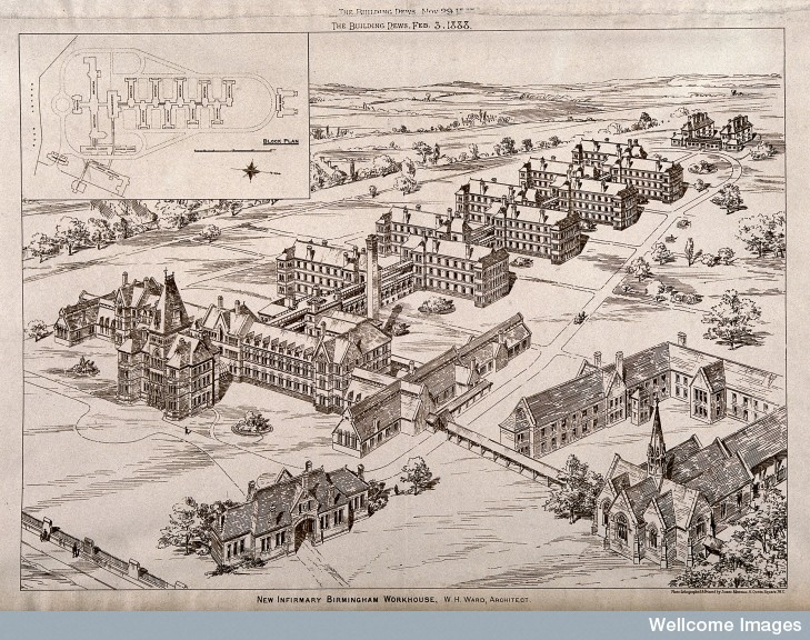 V0012228 Bird's eye view of the Birmingham workhouse infirmary with a