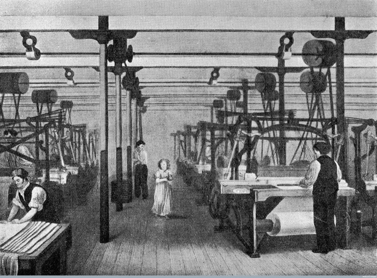 M0010961 Interior of cotton factory showing use of child labour