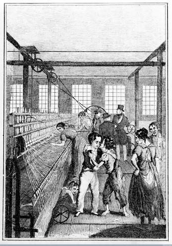 M0013538EA Child apprentices in textile factory.