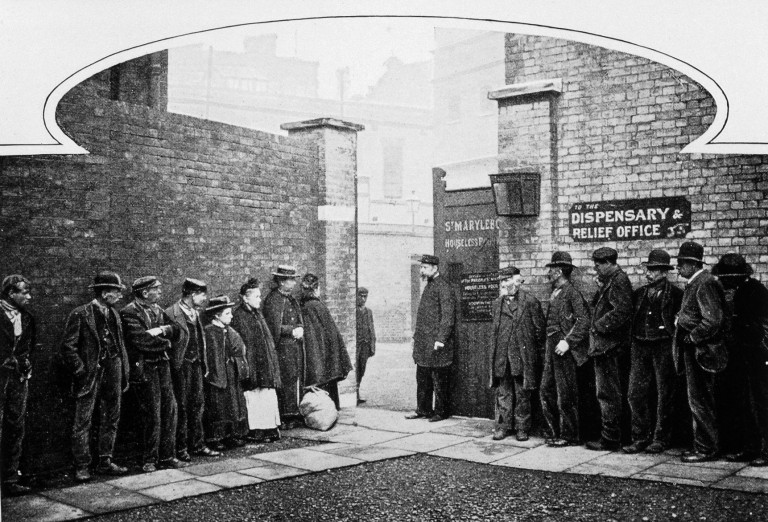 L0027183 People queuing at S. Marylebone workhouse circa 1900
