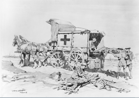 L0023337 Horse ambulance at Ypres, World War I