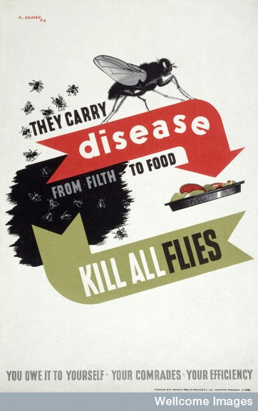 L0023771 Flies infecting food. Colour lithograph after A. Games, 1941