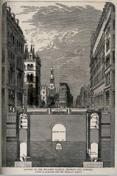 Haywood, William. A section through the roadway of Holborn Viaduct, London: looking east, showing the middle level sewer. Wood engraving after W. Haywood, 1854. Wellcome Library Creative Commons.