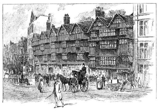 Besant, Walter. Staple Inn, Holborn, London ca.1900. Wikimedia Commons.
